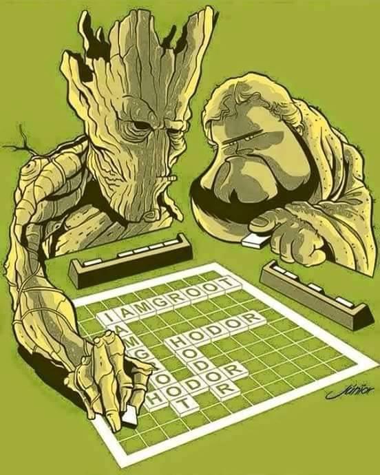 Groot y Hodor jugando Scrabble