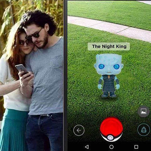 Jon Snow capturando al Rey de la noche en Pokemon Go